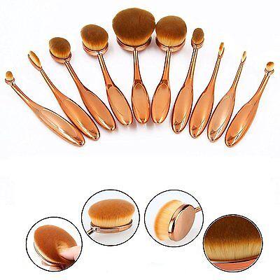 10x Brosse Ovale Pinceau Maquillage Teint Poudre Crème Brush Pinceaux Set