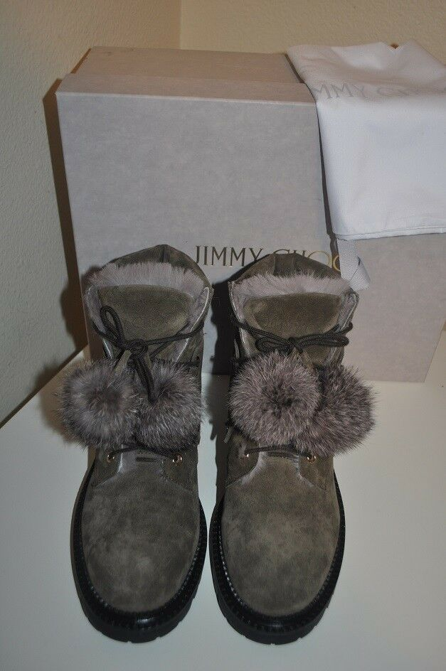 NEW  1,195+ Jimmy Choo ELBA ELBA ELBA Pom Pom Genuine Rabbit Fur Boot MINK Suede 38- 7 3a3be8