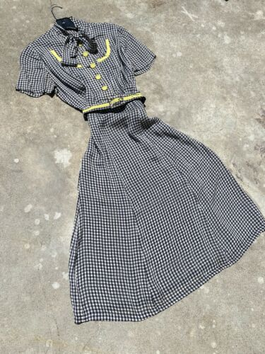 Vintage 1930s Black & White Checkered Rayon Day Dr