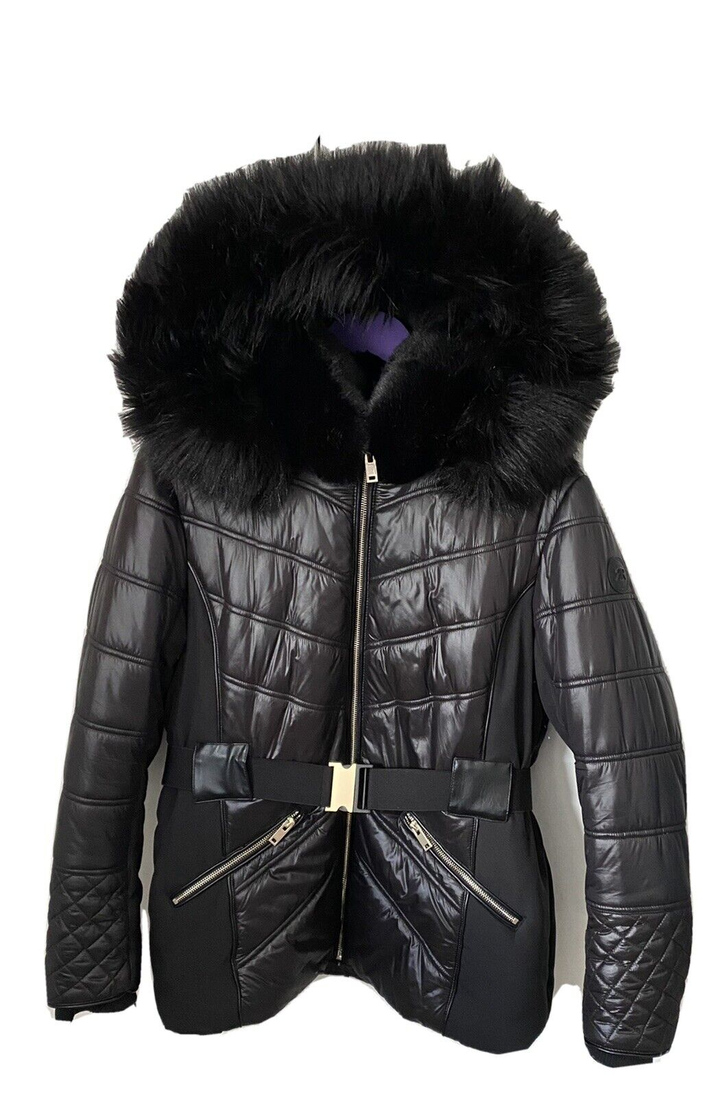 Ladies Plus River Island Black Quilted Padded Puffer Jacket Coat Belted
