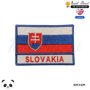 SLOVAKIA-National-Flag-With-Name-Embroidered-Iron-On-Sew-On-Patch-Badge