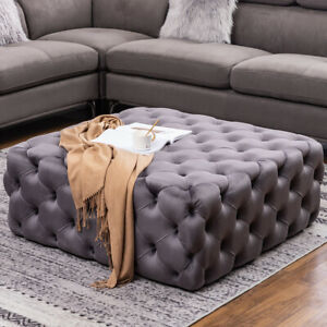 Details About Large Grey Chesterfield Style Deep Buttoned Footstool Coffee Table Ottoman Uk
