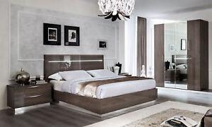 Modernes Schlafzimmer Set Komplett Hochglanz Rauch Grau Schrank Bett ...