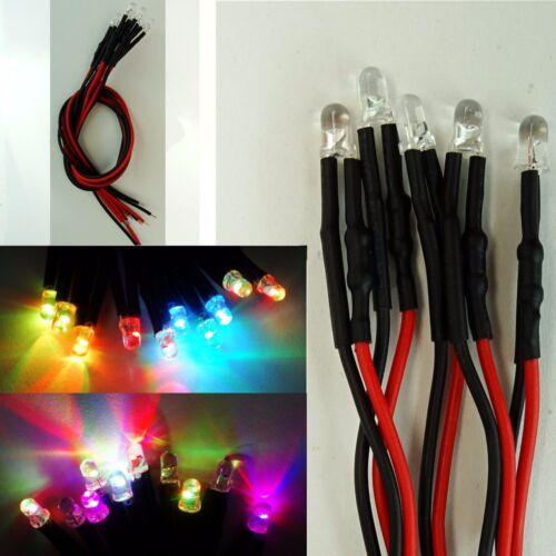 5 Stück LED 3mm RGB Rainbow Langsamer Farbwechsel 9-12V fertig Verkabelt  C3028
