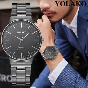 Yolako-Herren-Edelstahl-Band-Casual-Quartz-neues-Armband-Analog-Armbanduhr