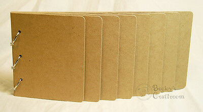 """5.5/""""x11.75/"""" Chipboard Flip Album 8 graduated pages 3 rings pages 1/"""" apart"""