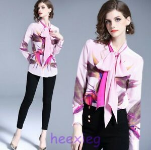Occident Womens Long Sleeve Floral Printing Top Blouse Collar Slim Fit Shirts sz