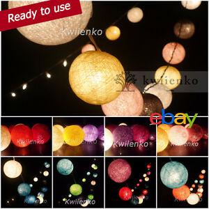 Ready-to-Use-20-35-COTTON-BALL-FAIRY-STRING-LIGHTS-PARTY-PATIO-Holiday-WEDDING