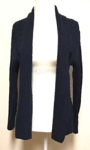 L-L-Bean-Womens-Medium-Petite-Cardigan-Open-Front-Sweater-Cable-Knit-Thick-Blue