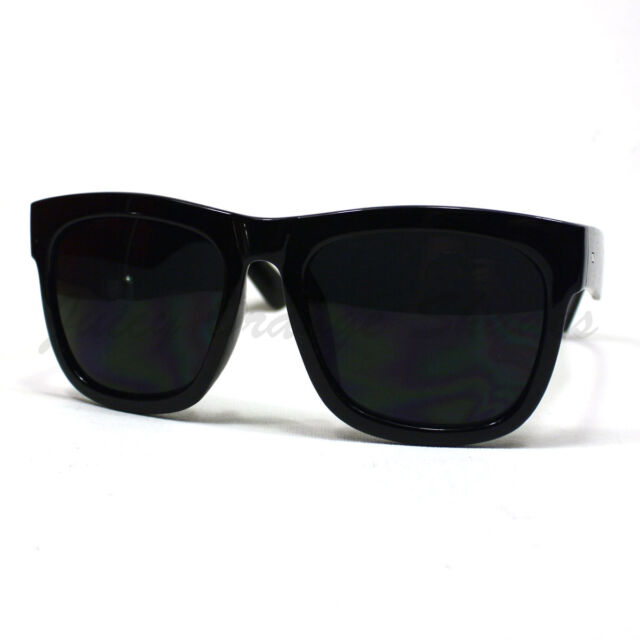 bc8e23e8047 Oversized Sunglasses Super Dark Lens Black Thick Horn Rim Frame for ...