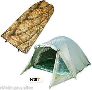Image is loading CARP-FISHING-2-MAN-DOUBLE-SKINNED-GREEN-BIVVY-  sc 1 st  eBay & CARP FISHING 2 MAN DOUBLE SKINNED GREEN BIVVY TENT SHELTER + CAMO ...