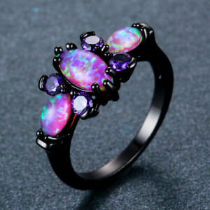 Women Black Gold Butterfly Purple Fire Opal Wedding Ring Jewelry
