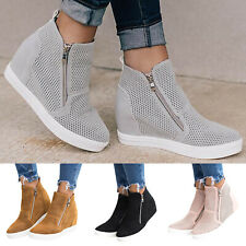 Womens Wedge Low Heels Ankle Boots Hidden Sneakers Trainers Zip High Top Shoes