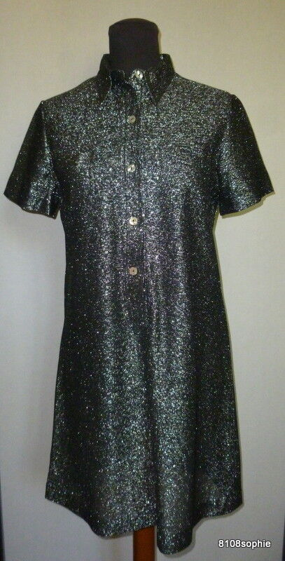 Rare Robe Lamée Boutique Mademoiselle Age Tendre Vintage 1960