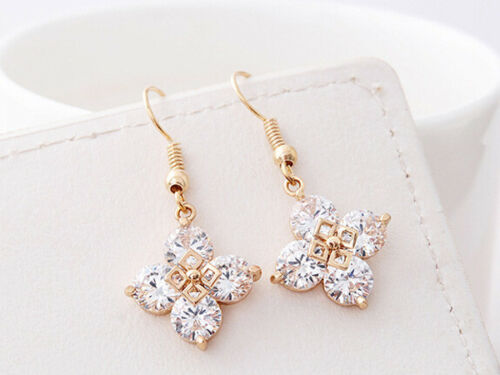 Rose Gold Plated Romantic Four Circle Harmony Drop Earrings
