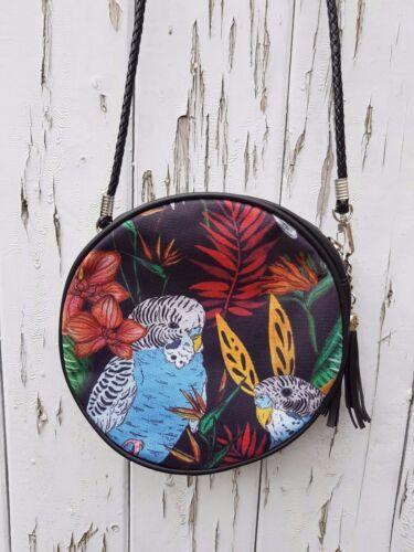 Tropical Budgie Handbag Jungle Budgerigar Bird Bag Black Round