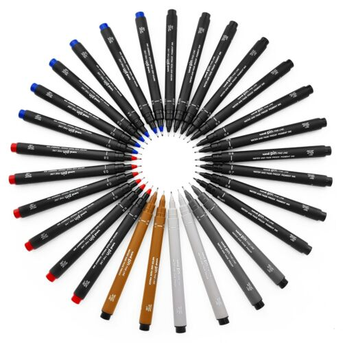 12 x Uni Ball Pin Drawing Pen Fineliner Ultra Fine Line Marker in 5 Colours