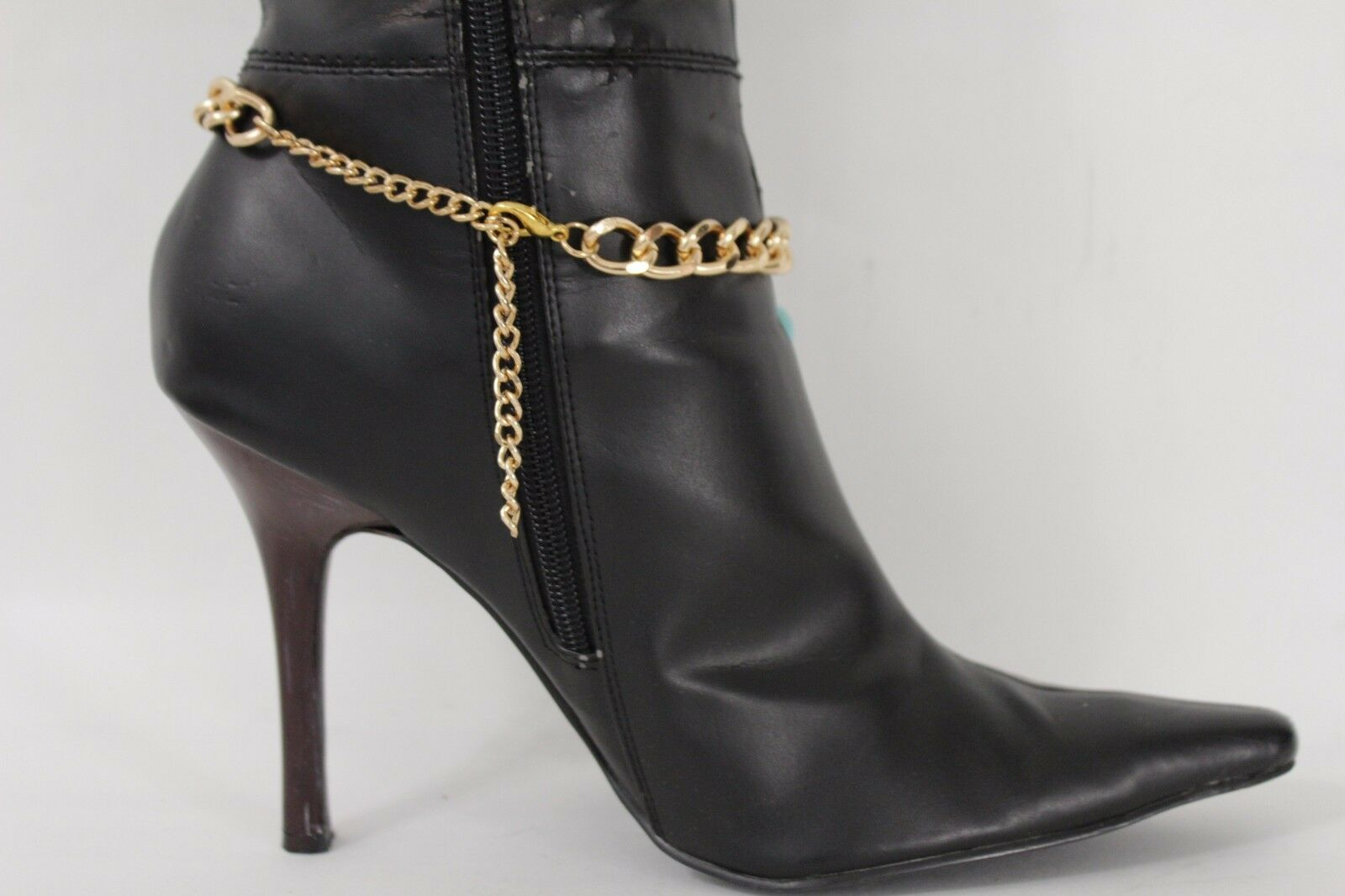 Women Gold Boot Chain Bracelet Western Shoe Charm Jewelry Turquoise Blue Beads
