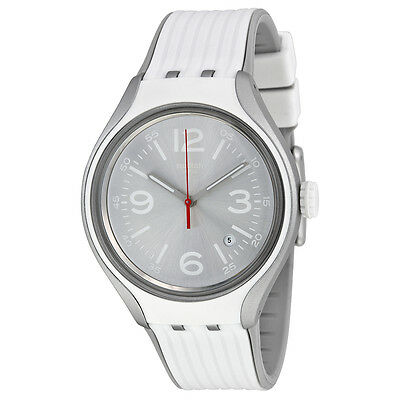 Swatch Go Dance Silver Dial White Silicone Mens Watch YES4005
