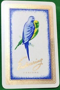 Playing-Cards-1-Single-Card-Old-ENDEARING-PERFUME-Advertising-Art-LOVEBIRDS-Bird