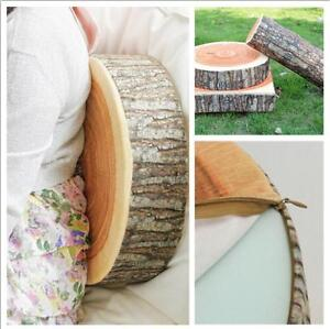 Wood-Round-3D-Stump-Shaped-Cushion-Soft-Plush-Stuffed-Pillow-Case-Cover-Pads-WO
