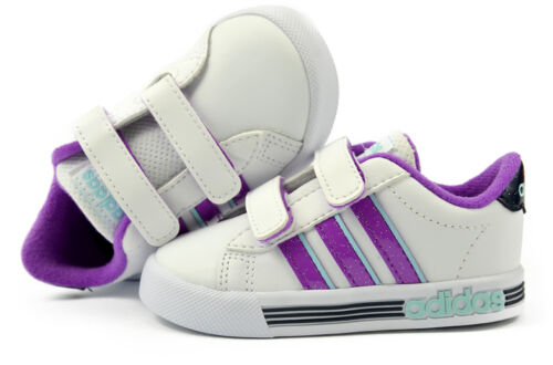 Adidas Daily Team Neo Infant Grils Trainers White Purple B74669 3 to 9.5 Leather