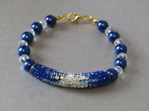 Sapphire Blue Glass Pearl, Crystals & Sparkly Pave Tube Beaded Bracelet.Nice!
