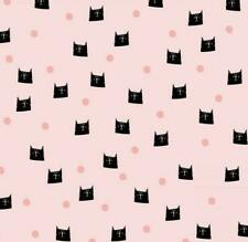 BY THE YARD Feline Drive Cat Fabric Cats /& Dots Green Meow /& Forever