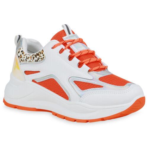 Damen Plateau Sneaker Chunky Turnschuhe Metallic Schnürer 834212 Trendy Neu