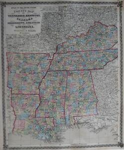 Original 1873 Map TENNESSEE KENTUCKY ALABAMA MISSISSIPPI ARKANSAS