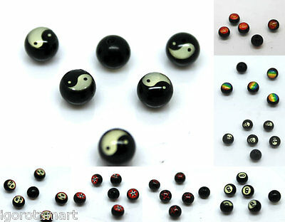New Ladies Fashion Logo Balls Replacement Body Jewelry Parts Acrylic UK Seller