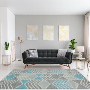 Silver Duck Egg Blue Geometric Rugs For Living Room Modern Soft Bedroom Mats Ebay
