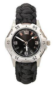 Black-Paracord-Bracelet-Watch-Deluxe-Stylish-Waterproof-Alloy-Wristwatch
