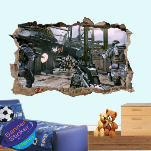 COD GAME ACTION TEAM WALL STICKER 3D SMASHED ART ROOM DECOR DECAL MURAL XA6