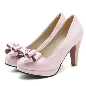 Women Platform Big Bow Slip On Pointed Toe Chunky High Heel Dress Pumps Shoes