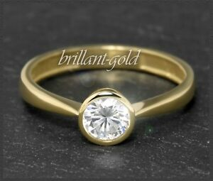 Diamant-Brillant-585-Gold-Ring-Solitaer-0-55-ct-Top-Wesselton-G-amp-Si1-Gelbgold