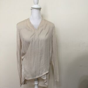 Dolan-Left-Coast-Collection-Blouse-Ivory-Peasant-Top-Ruffle-Neck-Anthropologie-L