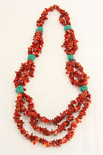 Stunning Red & Turquoise Boho Hippie Multi Strand Coral Howlite Stone Necklace