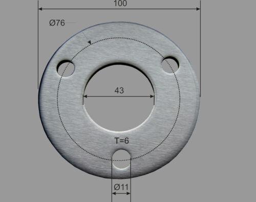Edelstahl Ronde Ø 100x6 mm gelocht 43 mm V2A  Platte Ronden Deckel Kappe Blech