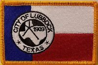 Lubbock Texas Flag Military Patch With Velcro® Brand Fastener Gold Border 5
