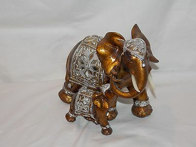 """NEW ASIAN ELEPHANTS MOTHER ELEPHANT & BABY PLAYING BRONZE & SILVER  FIGURE 9"""""""