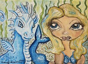 Mermaid and Sea Dragon Art Print 11 x 14 Artist Signed KSams Big Eye Gothic Blue