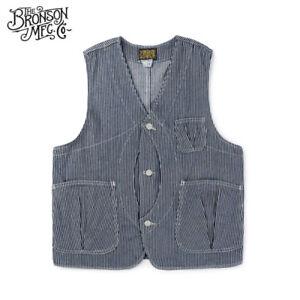 Bronson-Hickory-Game-Pocket-Vest-Vintage-Men-039-s-Striped-Hunting-Waistcoat-Jacket