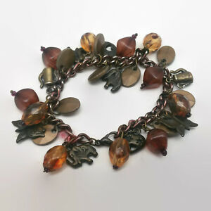 Bronze-Colored-Chain-Charm-Style-Beaded-Bracelet