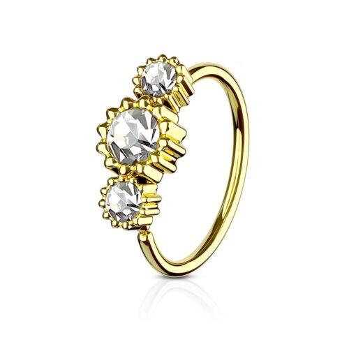 Tapsi´s Coolbodyart® Hoop Ring für Nase//Ohr Cartilage Ring gold mit Zirkonia