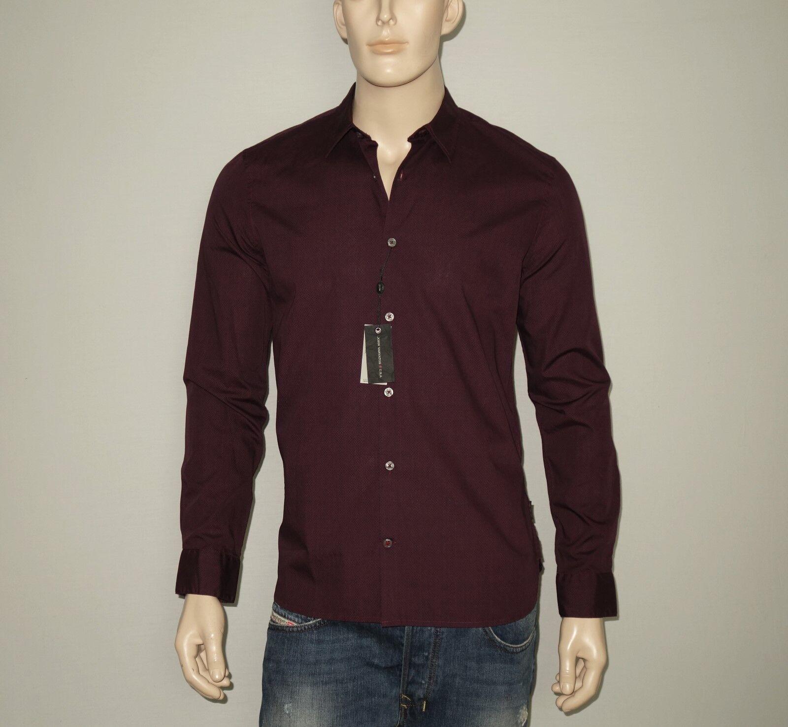 148 NEW John Varvatos Shirt in Garnet LARGE 35/36 Long Sleeves 100% Cotton