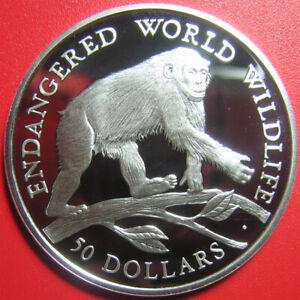 1990-COOK-ISLANDS-50-SILVER-PROOF-CHIMPANZEE-CHIMP-ENDANGERED-WILDLIFE-CROWN
