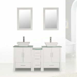 Groovy Details About 60 White Bathroom Vanity Sink Combo Cabinet Glass Top Double Basin W Faucet Set Home Interior And Landscaping Ologienasavecom