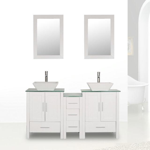 Homecart Bathroom Vanity Cabinet Glass Top Double Basin With Faucet