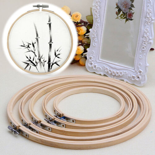 Wooden Cross Stitch Embroidery Hoop Ring Frame Sewing Needle Craft DIY Manual
